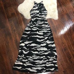 H&M Halter Maxi Dress Zebra Print Sz 2